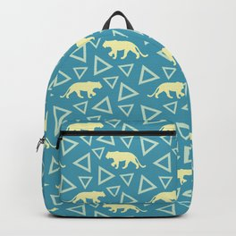 Wild African walking yellow lions and abstract triangle shapes. Stylish whimsical ethnic blue retro vintage geometric animal nature pattern. Backpack