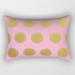 painted polka dots - pink and gold Rectangular Pillow