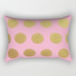 painted polka dots - pink and gold Rectangular Pillow