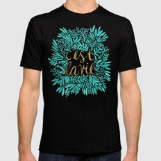 That's Life – Turquoise & Gold Black Mens Fitted Tee MEDIUM