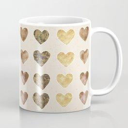 Gold and Chocolate Brown Hearts Coffee Mug