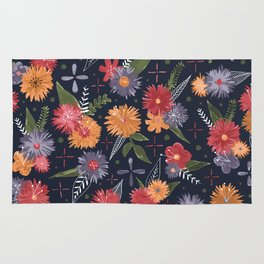 bright floral pattern on navy Rug