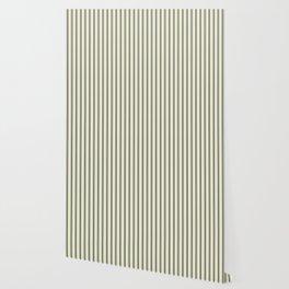 Mattress Ticking Wide Striped Pattern in Dark Black and Beige Wallpaper