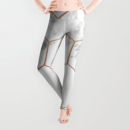 Rose gold marble hexagons honeycomb pattern Leggings