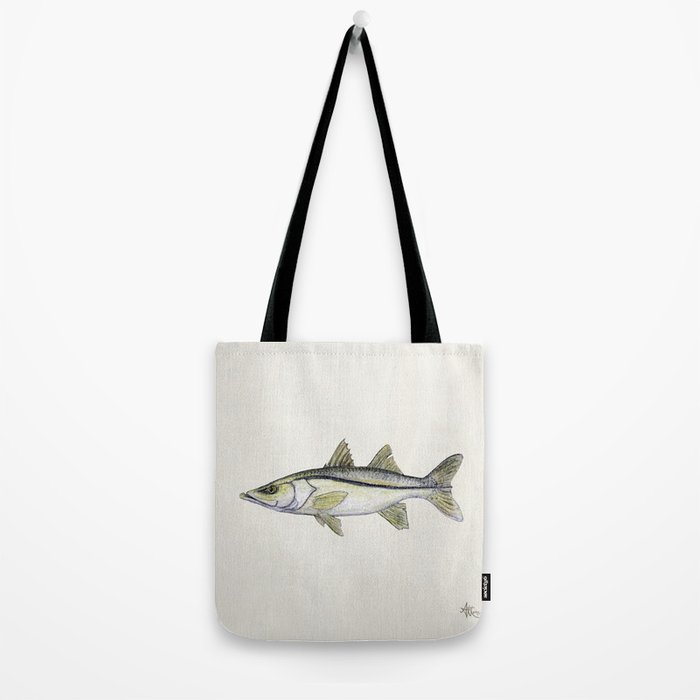 """""""Snook"""" by Amber Marine - Centropomus undecimalis ~ Watercolor Illustration, (Copyright 2013) Tote Bag"""