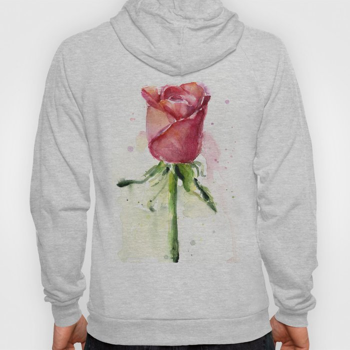 Rose Watercolor Red Flower Painting Floral Flowers Hoody