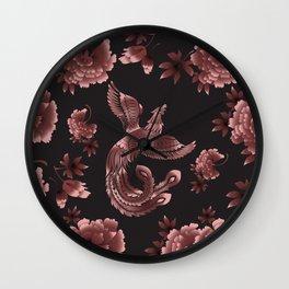 Phoenix Bird with peony flowers Wall Clock