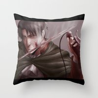 levi Throw Pillows featuring Shingeki no Kyojin - Levi by Paleblood