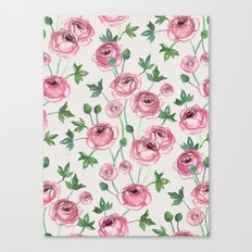 Painted Pink Ranunculus Pattern Canvas Print