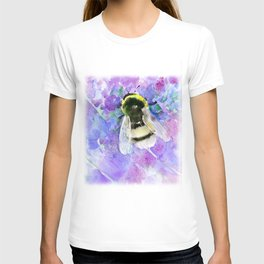 Bumblebee and Lavender Flowers Herbal Bee Honey Purple Floral design T-shirt