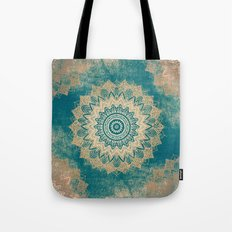 GOLD BOHOCHIC MANDALA IN GREENS Tote Bag