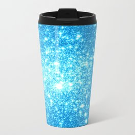 Sky Blue Sparkle Stars Travel Mug
