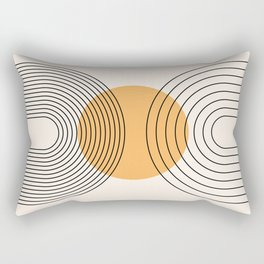 Geometric Lines in Black and Beige 29 (Rainbow and Sun Abstraction) Rectangular Pillow