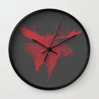 moose Wall Clocks featuring Moose  by polona hocevar skofic