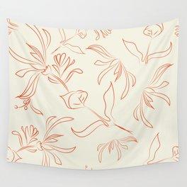 Orange leaves on cream ground Wall Tapestry