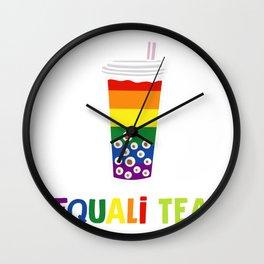 Equali-Tea Boba Bubble Tea LGBT Rainbow Pride Wall Clock