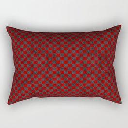 Retro Check Grunge Material Red Black Rectangular Pillow