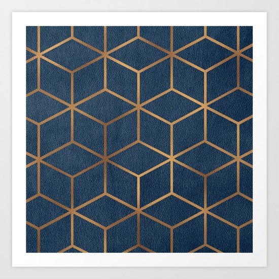 Dark Blue And Gold Geometric Textured Cube Design Art Print By Catherinebuggins Society6