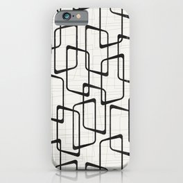 Black Retro Rounded Rectangles Geometric Pattern iPhone Case