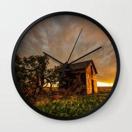 Basking in the Glow - Old Barn In Warm Sunlight in Oklahoma Wall Clock