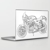 cafe racer Laptop & iPad Skins featuring NORTON COMMANDO 961 CAFE RACER 2011 by Larsson Stevensem