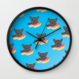 Pups in Donuts Wall Clock