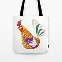 rooster Tote Bags featuring Rooster by Jackie Sullivan