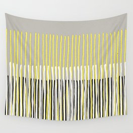 Yellow Rising - abstract stripes in yellow, grey, black & white Wall Tapestry