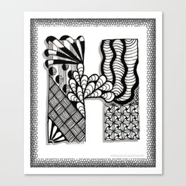 Zentangle H Monogram Alphabet Initials Canvas Print