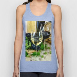 Glasses of Wine plus Grapes and Barrel Unisex Tank Top