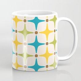 Mid Century Modern Star Pattern 816 Yellow Brown Turquoise Chartreuse Coffee Mug