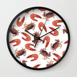 crab shrimps pattern white Wall Clock