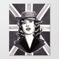 agent carter Canvas Prints featuring Agent Carter by Katy-L-Wood
