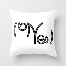 Indecisive Yes or No (black text) Throw Pillow