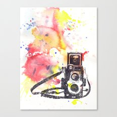 Vintage Rolleiflex Camera Painting Canvas Print