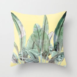 Bananas Leaves in Yellow Throw Pillow