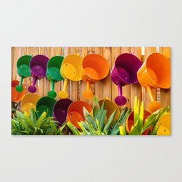 Colorful Watering Cans Canvas Print