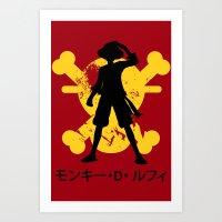 luffy Art Prints featuring Monkey D. Luffy by KerzoArt