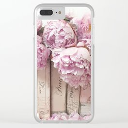 Shabby Chic Pink Peonies Paris Books Wall Art Print Home Decor Clear iPhone Case