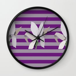 Grey Flowers-Abstract on Striped Purple Background Wall Clock