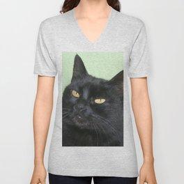 Relaxed Black Cat Portrait  Unisex V-Neck