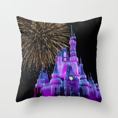 Disney Magic Kingdom Fireworks at Christmas - Cinderella Castle Throw Pillow