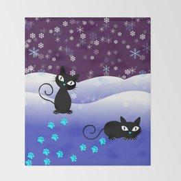 Glow in the Dark Xmas Cats Throw Blanket