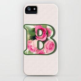Letter B Rose Monogram iPhone Case