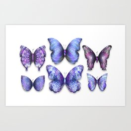 Butterfly Taxidermy 5 // Beautiful Mandala Detailed Wings Design // Purple, Violet, Magenta Art Print