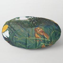 Henri Rousseau - The Repast of the Lion Floor Pillow