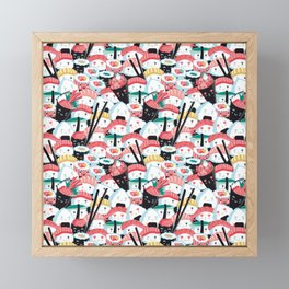 Kawaii Sushi Crowd Framed Mini Art Print