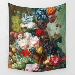 Fruit and Flowers in a Terracotta Vase by Jan van Os Wall Tapestry