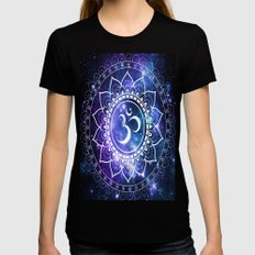 Om Mandala: Violet & Teal Galaxy Womens Fitted Tee SMALL Black