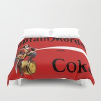 coke Duvet Covers featuring Captain and Coke by Hitting 50